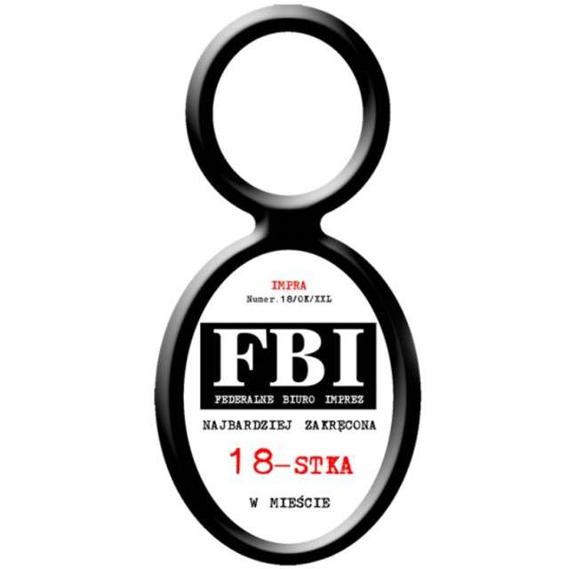 """Zawieszki na alkohol, """"Urodziny 18 FBI"""", 20 szt"""