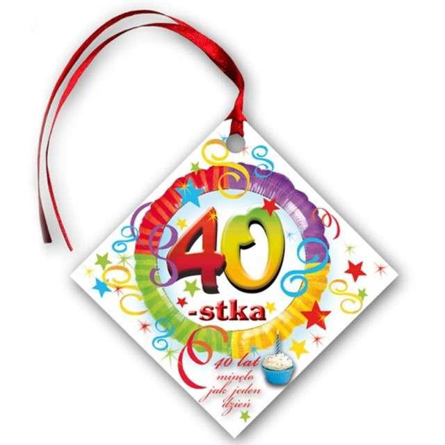 """Zawieszki na alkohol, """"Urodziny 40"""", tęczowe, 20 szt"""