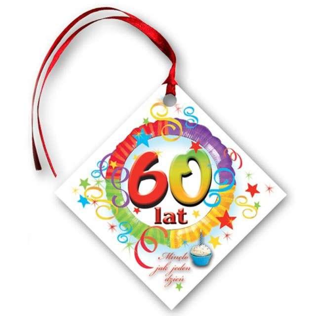 """Zawieszki na alkohol, """"Urodziny 60"""", tęczowe, 20 szt"""