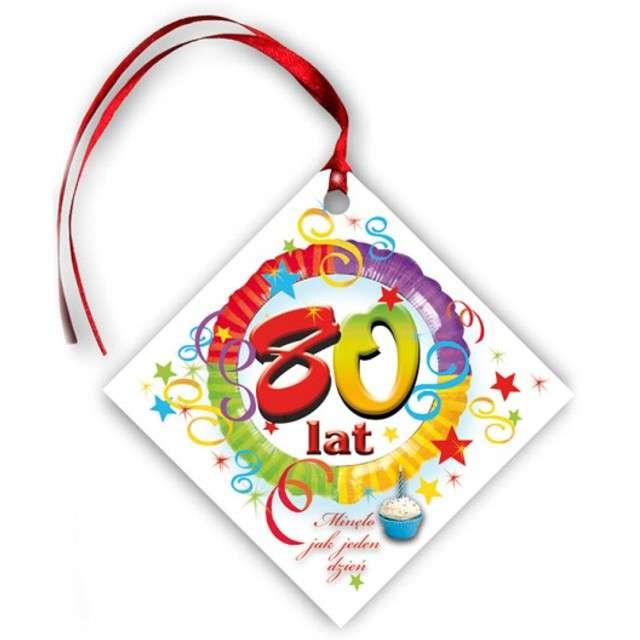 """Zawieszki na alkohol, """"Urodziny 80"""", tęczowe, 20 szt"""