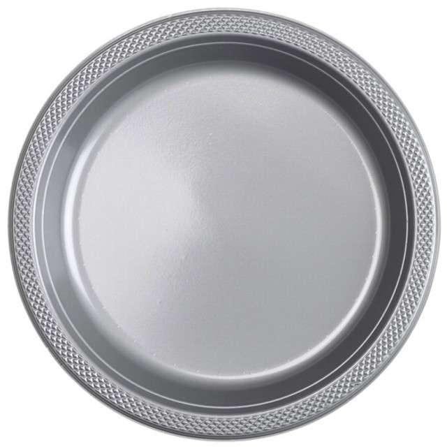 """Talerzyki plastikowe """"Amscan L"""", srebrne, 22,8 cm, 10 szt"""