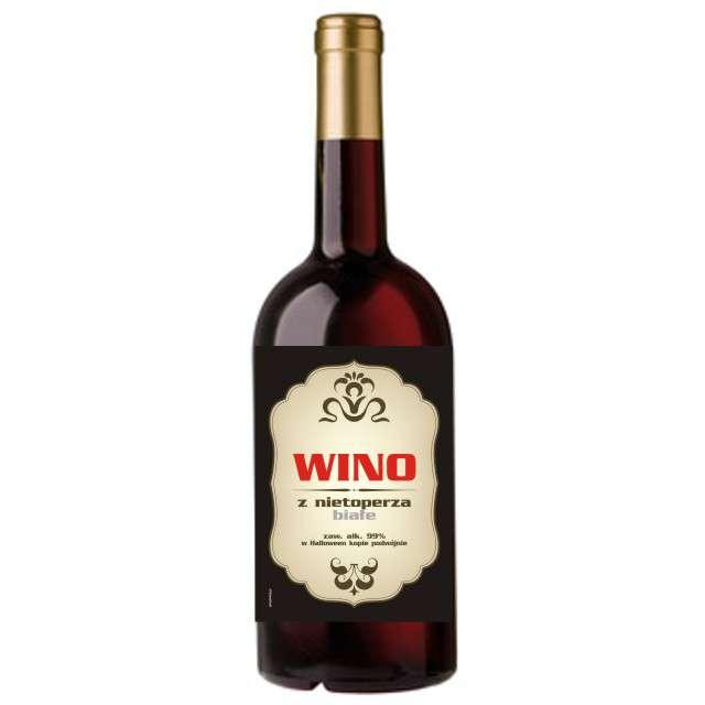 """Etykieta na butelkę """"Wino z nietoperza białe"""", 85x120 mm, 5 szt"""