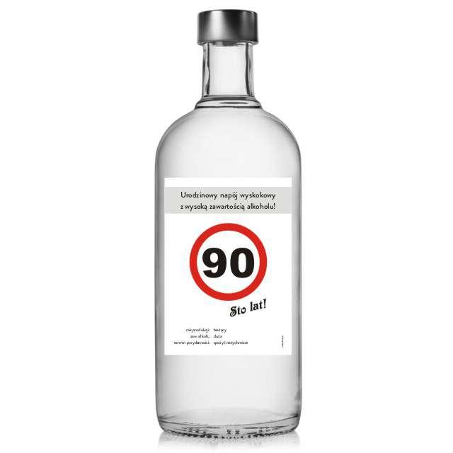"""Etykieta na butelkę """"Urodziny 90 znak"""", 85x120 mm, 5 szt"""
