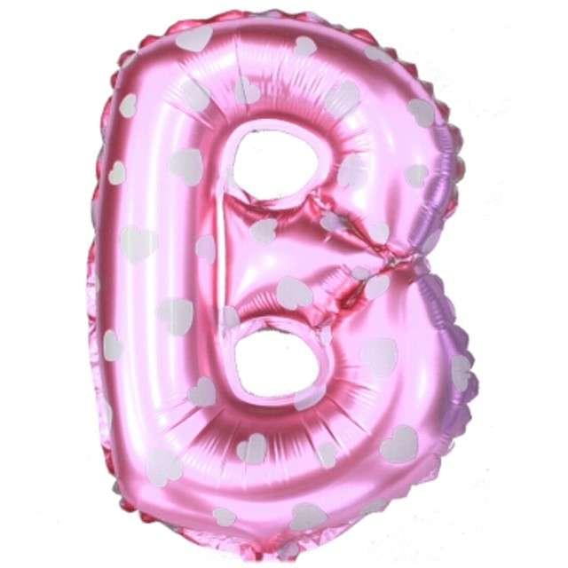 """Balon foliowy litera B, 16"""", OEM, różowy"""