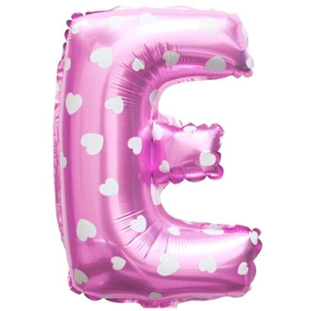 """Balon foliowy litera E, 16"""", OEM, różowy"""