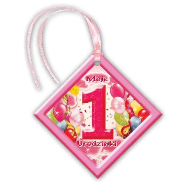 """Zawieszki na alkohol, """"Moje 1 Urodzinki"""", różowe, 20 szt"""
