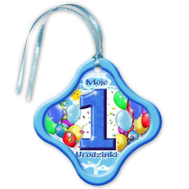 """Zawieszki na alkohol, """"Moje 1 Urodzinki"""", niebieskie, 20 szt"""