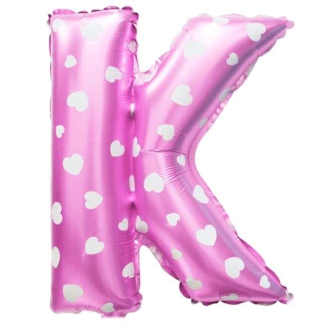 """Balon foliowy litera K, 16"""", OEM, różowy"""