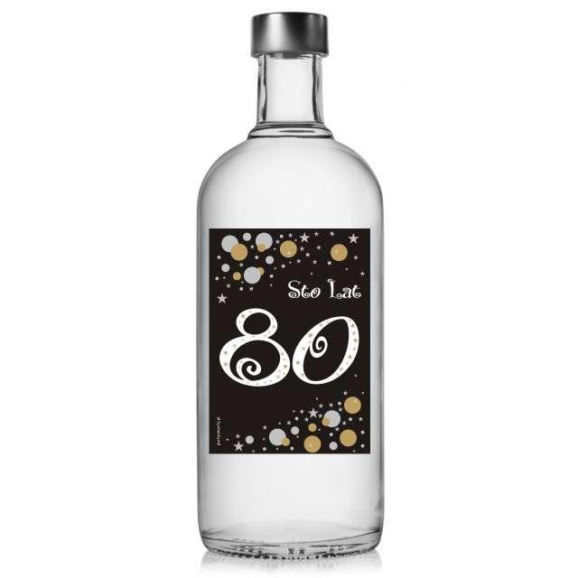 """Etykieta na butelkę """"Urodziny 80 Gold"""", 85x120 mm, 5 szt"""
