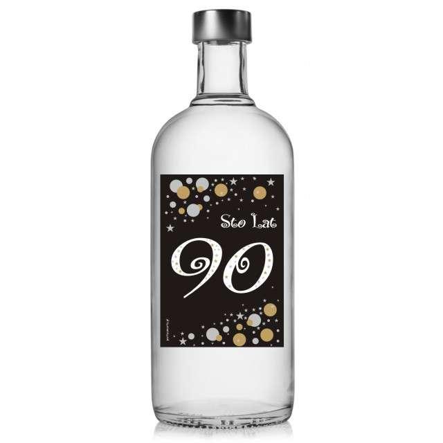 """Etykieta na butelkę """"Urodziny 90 Gold"""", 85x120 mm, 5 szt"""