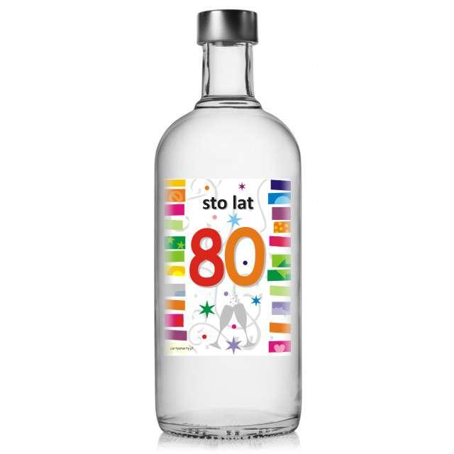 """Etykieta na butelkę """"Urodziny 80 Rainbow"""", 85x120 mm, 5 szt"""