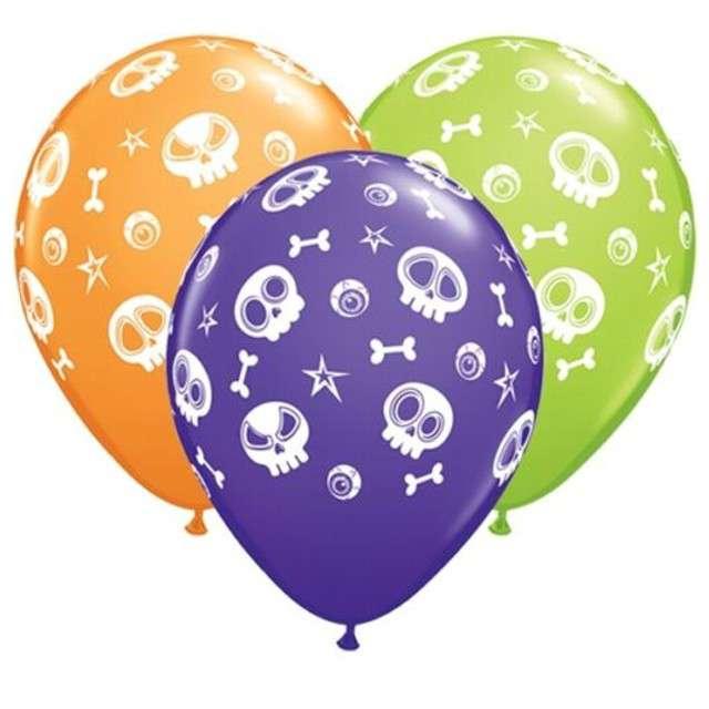 "Balony ""Fun Skulls And Eyeballs"", pastel mix, QUALATEX, 11"", 25 szt"