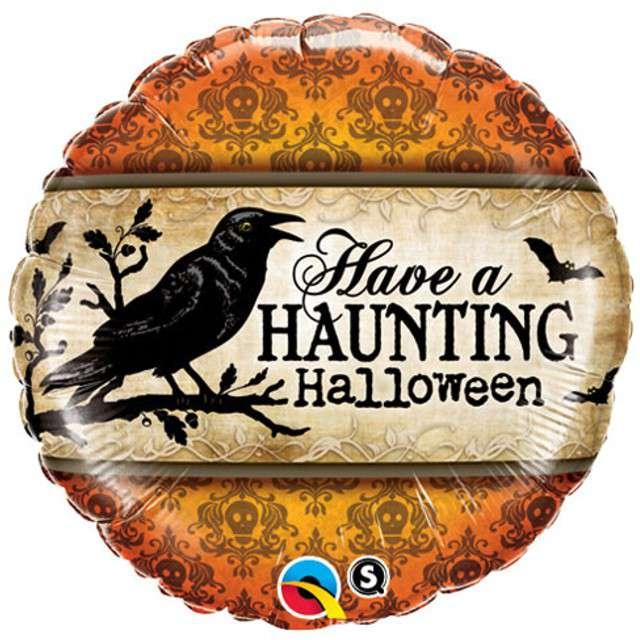 """Balon foliowy """"Have A Haunting Halloween"""", QUALATEX, 18"""" RND"""