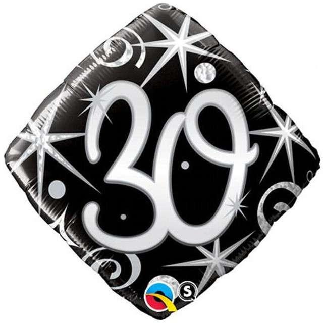 """Balon foliowy """"Urodziny 30 Elegant Black"""", QUALATEX, 18"""" RBS"""