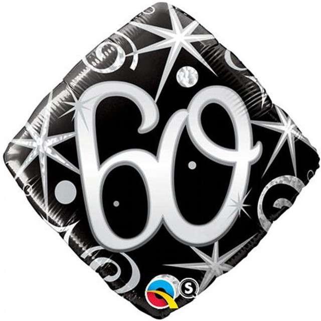 """Balon foliowy """"Urodziny 60 Elegant Black"""", Qualatex, 18"""""""