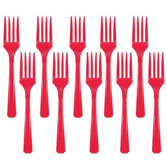 """Widelce plastikowe """"Amscan"""", czerwone, 16 cm, 10 szt"""