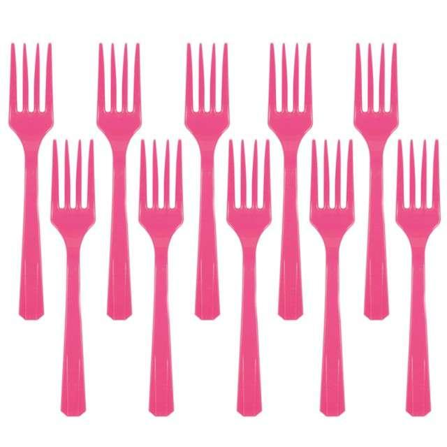 """Widelce plastikowe """"Amscan"""", różowe ciemne, 16 cm, 10 szt"""