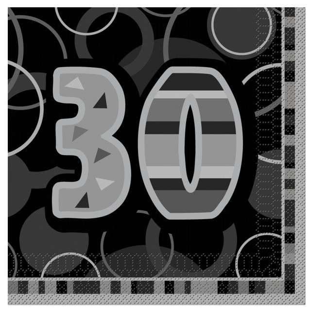"Serwetki ""30 Glitz Black"", 33 cm, UNIQUE, 16 szt"