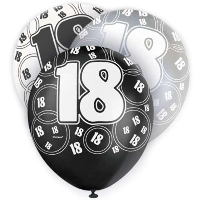 """Balony 12"""", """"18 silver"""", UNIQUE, pastel mix, 6 szt"""