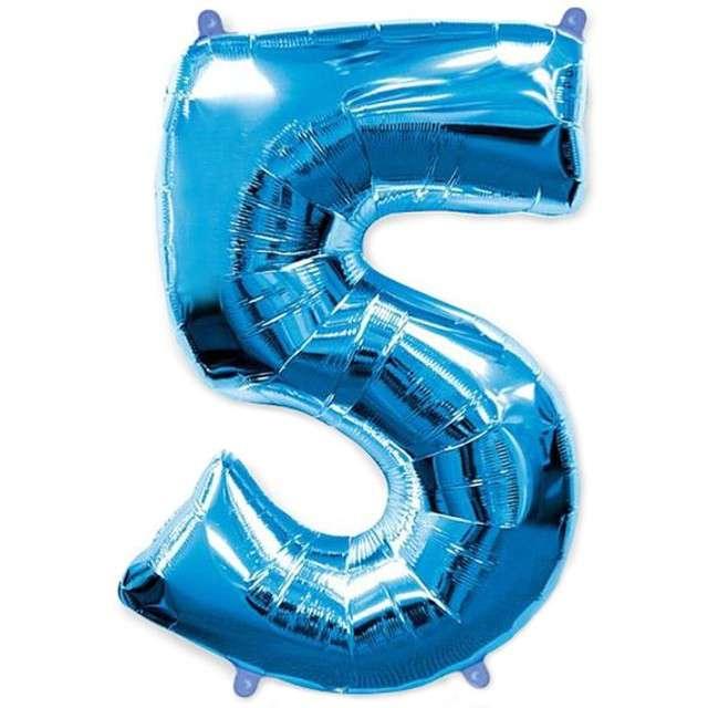 """Balon foliowy cyfra 5, niebieski, FLEXMETAL, 40"""""""