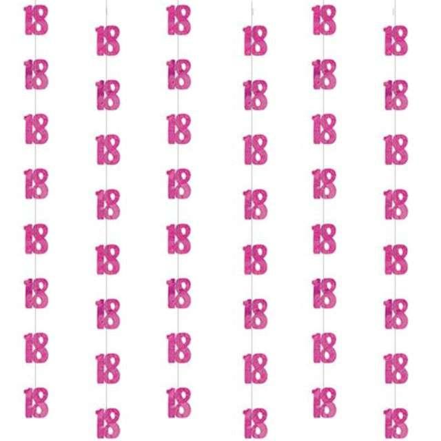 """Dekoracja wisząca, """"18"""", UNIQUE, różowa, 6 x 1,52 m"""