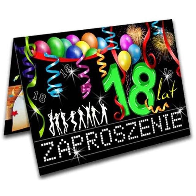 """Zaproszenia z kopertą """"Urodziny 18 party"""", 10 szt"""