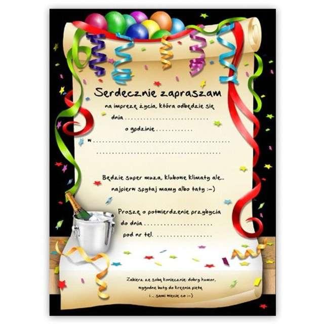 Zaproszenia z kopertą Urodziny 18 party 10 szt