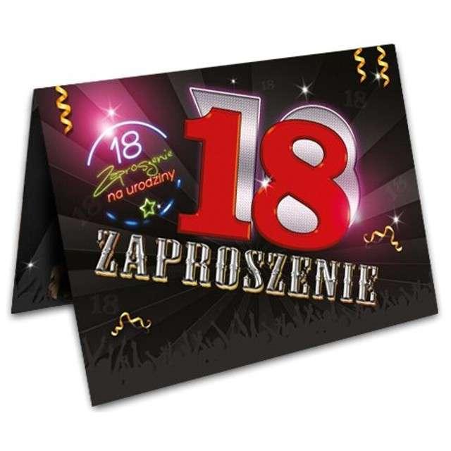 """Zaproszenia z kopertą """"Urodziny 18 neon"""", 10 szt"""