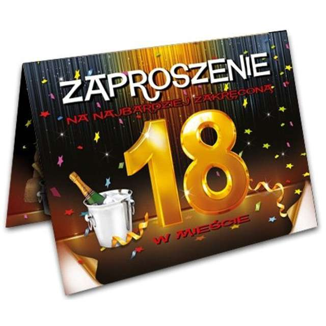 """Zaproszenia z kopertą """"Urodziny 18 szampan"""", 10 szt"""