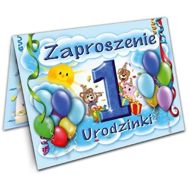 """Zaproszenia z kopertą """"Urodziny 1 baloniki błękitne"""", 10 szt"""