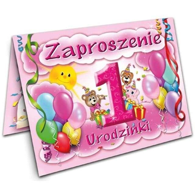 """Zaproszenia z kopertą """"Urodziny 1 baloniki różowe"""", 10 szt"""