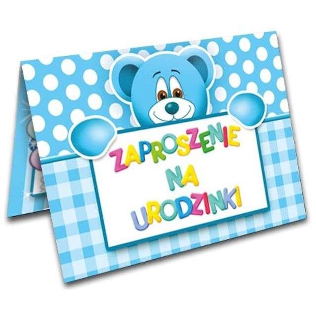 """Zaproszenia z kopertą """"Urodzinki misiu błękitny"""", 10 szt"""