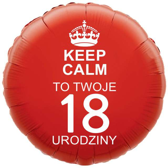 """Balon foliowy """"Urodziny 18 Keep Calm"""", czerwony, 18"""" RND"""