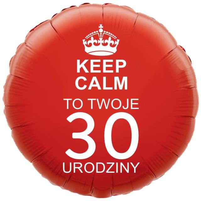 """Balon foliowy """"Urodziny 30 Keep Calm"""", czerwony, 18"""" RND"""