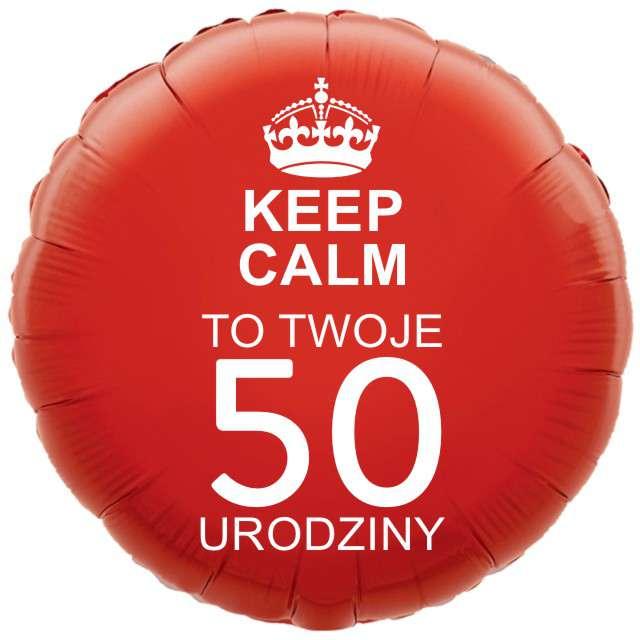 """Balon foliowy """"Urodziny 50 Keep Calm"""", czerwony, 18"""" RND"""