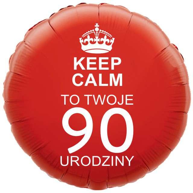 """Balon foliowy """"Urodziny 90 Keep Calm"""", czerwony, 18"""" RND"""