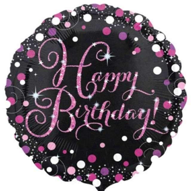 "Balon foliowy ""Happy Birthday"", Sparkling Celebration Pink, AMSCAN, 18"" CIR"