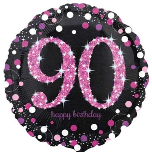 """Balon foliowy """"Urodziny 90"""", Sparkling Celebrations Pink, AMSCAN, 18"""" CIR"""