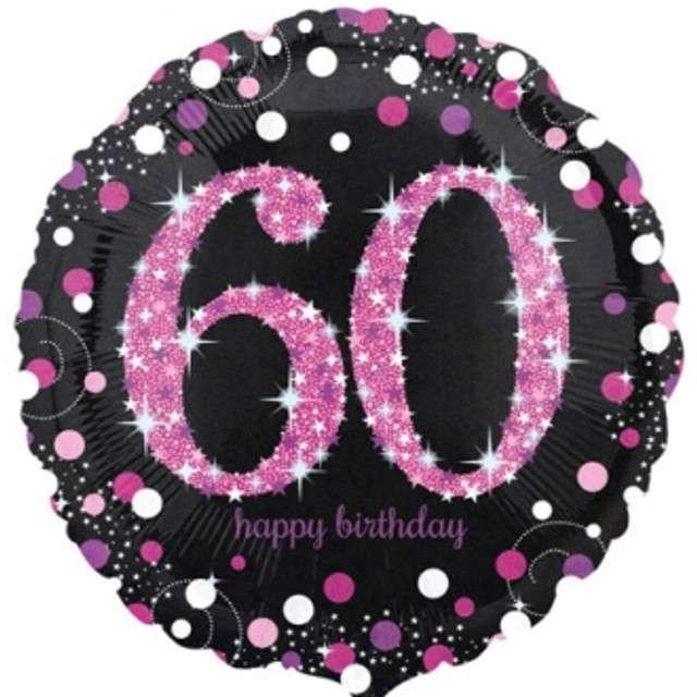 """Balon foliowy """"Urodziny 60"""", Sparkling Celebrations Pink, AMSCAN, 18"""" CIR"""