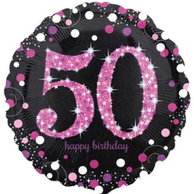 """Balon foliowy """"Urodziny 50"""", Sparkling Celebrations Pink, AMSCAN, 18"""" CIR"""