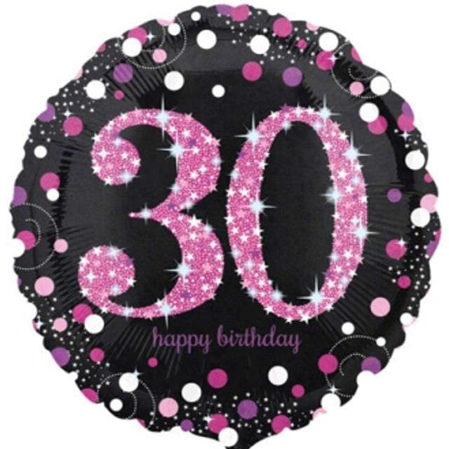 """Balon foliowy """"Urodziny 30"""", Sparkling Celebrations Pink, AMSCAN, 18"""" CIR"""