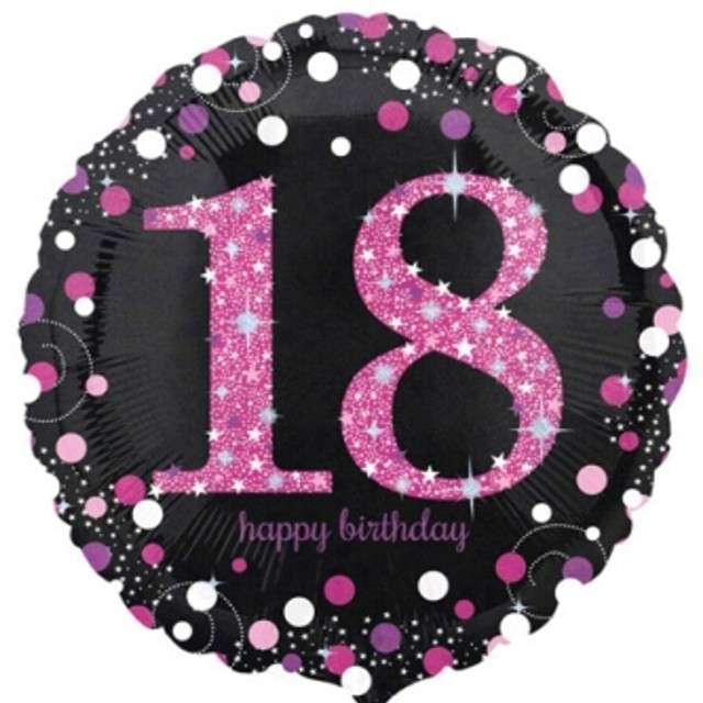 """Balon foliowy """"Urodziny 18"""", Sparkling Celebrations Pink, AMSCAN, 18"""" CIR"""