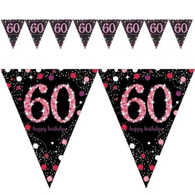 "Baner flagi ""60 Urodziny - Sparkling Celebrations Pink"", AMSCAN, 400 cm"