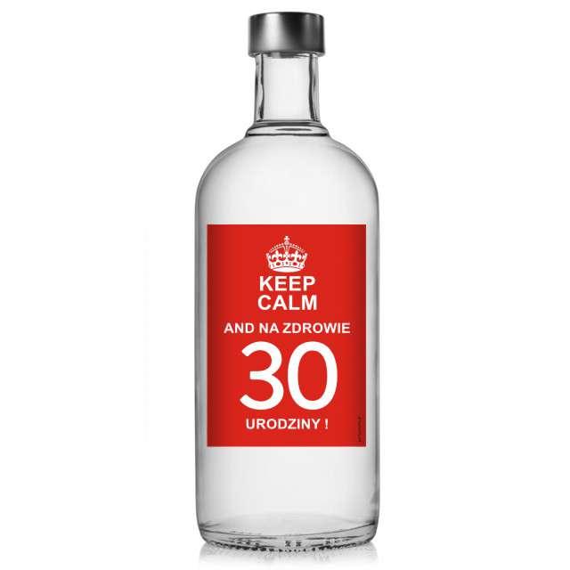 """Etykieta na butelkę """"Urodziny 30 Keep Calm"""", 85x120 mm, 5 szt"""