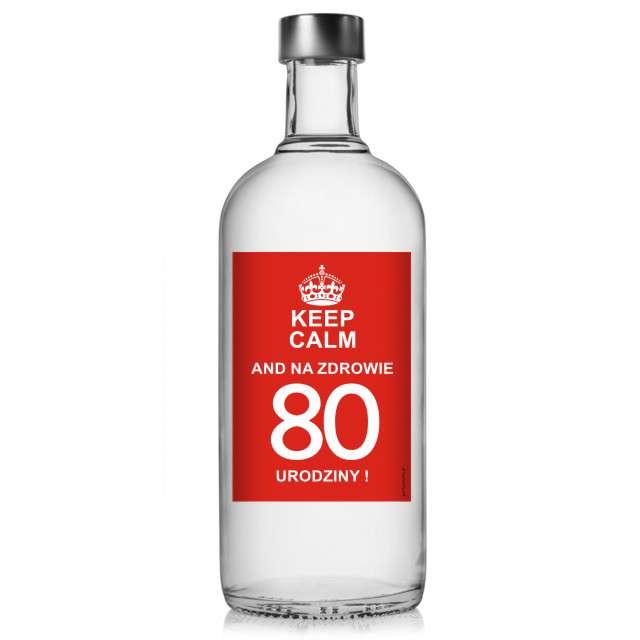 """Etykieta na butelkę """"Urodziny 80 Keep Calm"""", 85x120 mm, 5 szt"""