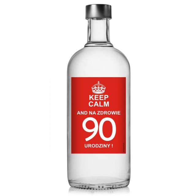 """Etykieta na butelkę """"Urodziny 90 Keep Calm"""", 85x120 mm, 5 szt"""