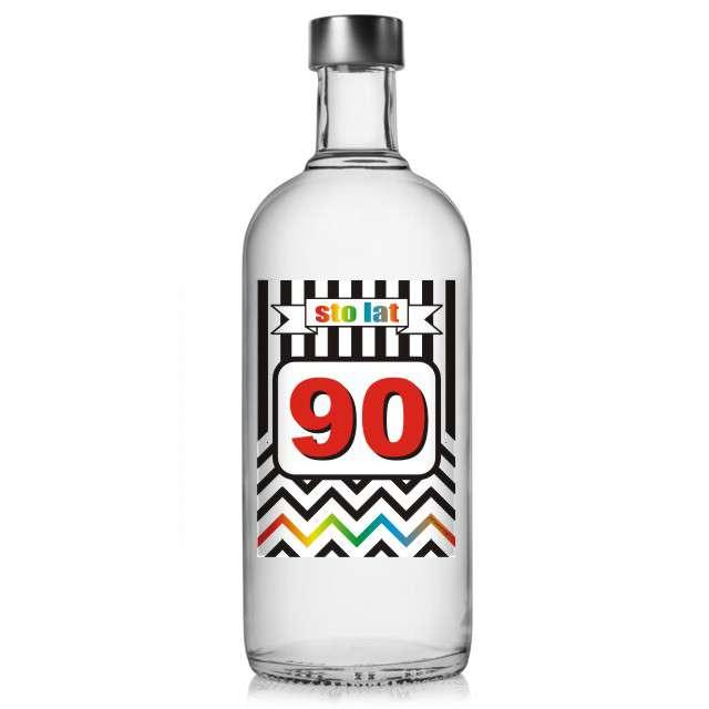 """Etykieta na butelkę """"Urodziny 90 Chevron"""", 85x120 mm, 5 szt"""