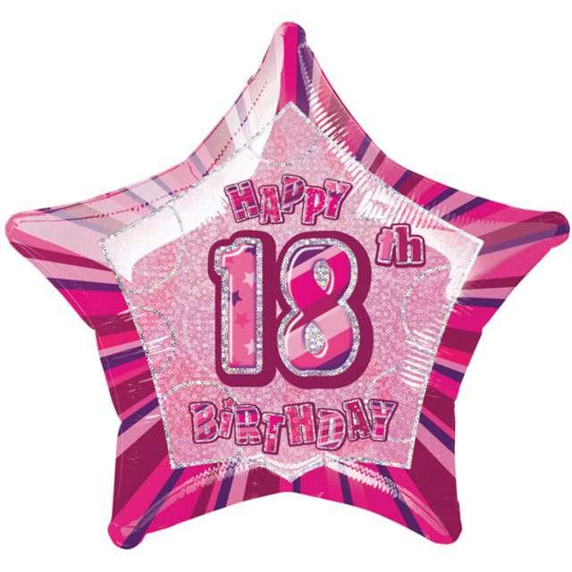 """Balon foliowy """"Urodziny 18"""", różowy, UNIQUE, 20"""" STR"""