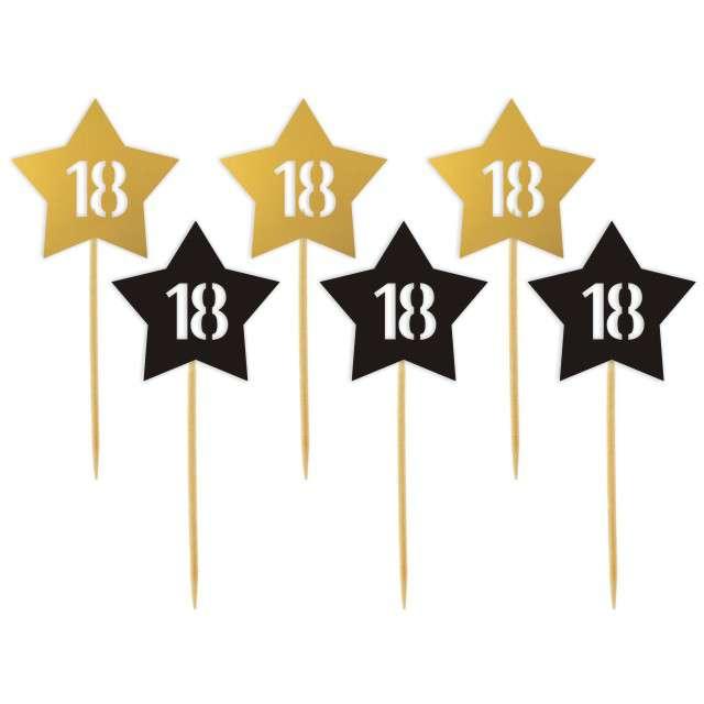 """Pikery """"18 Urodziny Stars"""", złoto-czarne, 6 szt"""