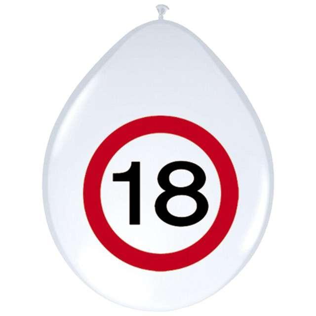 """Balony 12"""", """"Urodziny 18 znak"""", FOLAT, biały pastel, 8 szt"""